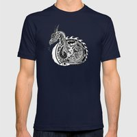 Nesting Dragon Mens Fitted Tee Navy SMALL