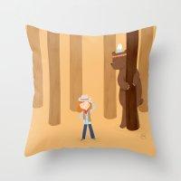 Bear And Girl: Playing Throw Pillow