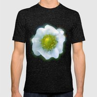 Art style white strawberry flower Mens Fitted Tee Tri-Black SMALL