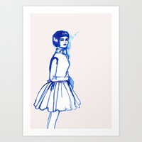 What Is She ThINKing?blu… Art Print
