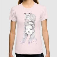 Secret Fires Womens Fitted Tee Light Pink SMALL