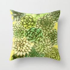 Sunny Succulents Throw Pillow