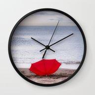 Red Umbrella At The Beac… Wall Clock