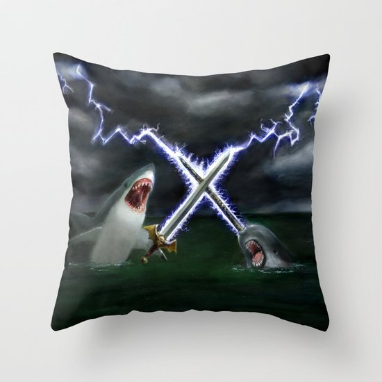 Shark vs. Narwhal  Throw Pillow