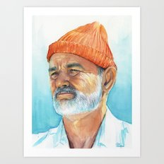 Steve Zissou Art | Watercolor Portrait Art Print