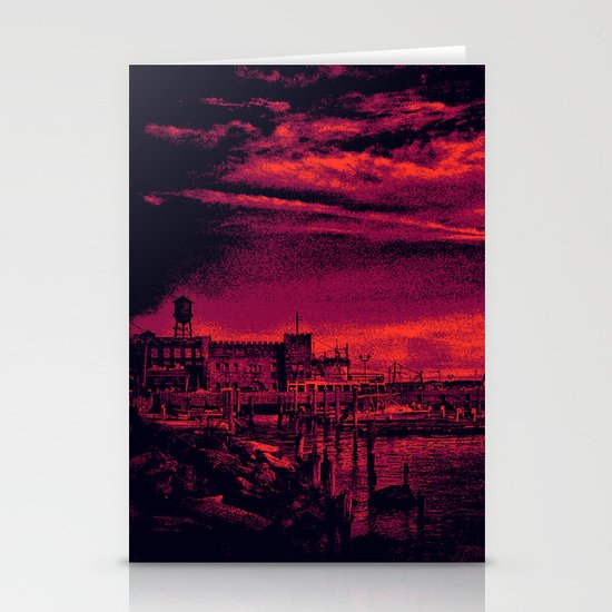 Sunset Over Bristol Harbor 3 Stationery Card