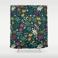 Midnight Florals (pop) Shower Curtain