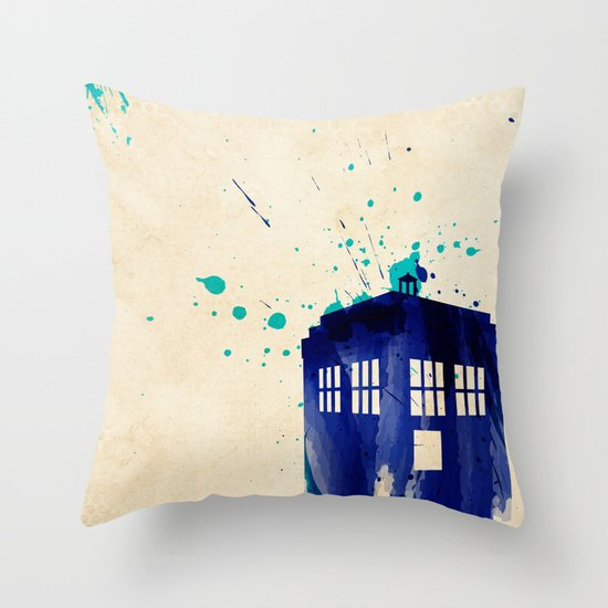 Doctor Who TARDIS Rustic Throw Pillow
