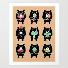 Vegi Bears Art Print