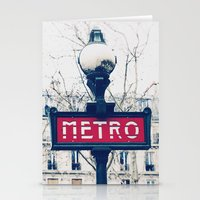 Paris Metro Sign Stationery Cards