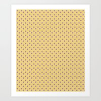 Yellow And Orchid Polka … Art Print