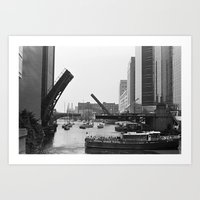 Chicago River Bridges Bl… Art Print