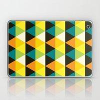 Teal, mustard, black & yellow triangles Laptop & iPad Skin