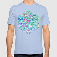Art Deco Watercolor Patchwork Pattern 2 Mens Fitted Tee Tri-Blue SMALL
