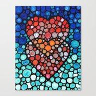 Two Hearts - Mosaic Art … Canvas Print