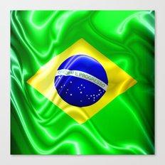Brazil Flag Waving Silk Fabric Canvas Print