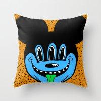 REPTILIAN MICKEYES. (Blue Face). Throw Pillow