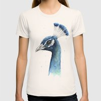 Peacock Watercolor Womens Fitted Tee Natural SMALL