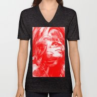 Unisex V-Neck featuring Sharon Mix 12 Red by Marko Köppe