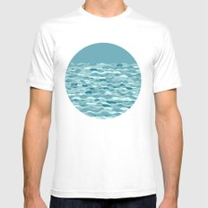 Waves SMALL White Mens Fitted Tee
