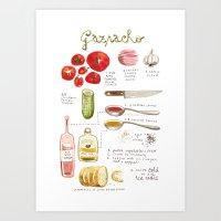 Illustrated Recipes: Gaz… Art Print