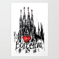 I Love Barcelona Art Print