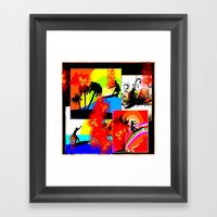 Posterized Surfing Collage Framed Art Print