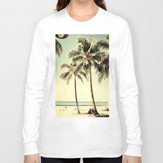 Retro Vintage Palm Tree with Hawaii Summer Sea Beach Long Sleeve T-shirt