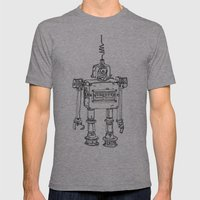 Yellow Robot Mens Fitted Tee Athletic Grey SMALL