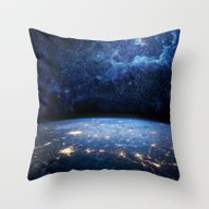 Earth And Galaxy Throw Pillow