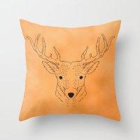 Deer Lines Throw Pillow
