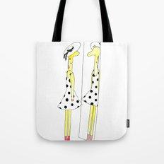 Gloria the Giraffe in a polka dot dress Tote Bag