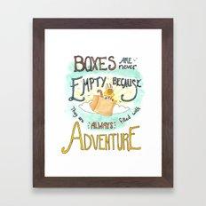Boxes are Full of Adventure Framed Art Print