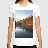 Mirrored Lake In Fall Womens Fitted Tee White SMALL