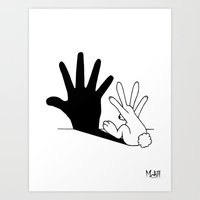 bunny Art Prints featuring Rabbit Hand Shadow by Mobii