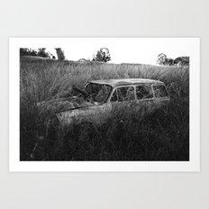 Nature reclaiming a vw squareback 02 Art Print