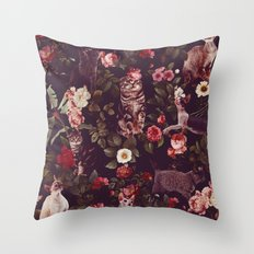 Cat and Floral Pattern Throw Pillow