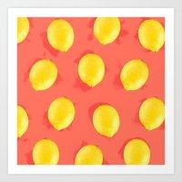 Watercolor Lemons Art Print
