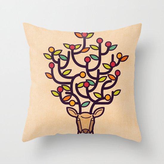 One Happy Deer Throw Pillow