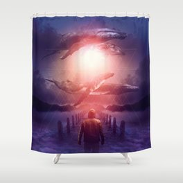 Shower Curtain - The Space Between Dreams & Reality - soaring anchor designs