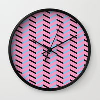 Blue and Black Chevron on Hot Pink Wall Clock