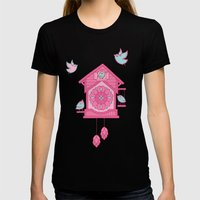 Cuckoo Time pink Womens Fitted Tee Black SMALL