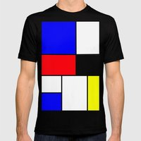 Red Blue Yellow squares design Mens Fitted Tee Black SMALL
