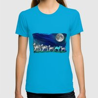 MOON CATS Womens Fitted Tee Teal SMALL