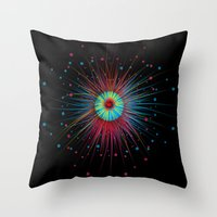 Neon Explosion Throw Pillow