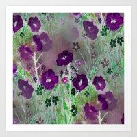 Magical Purple Flower Garden Art Print