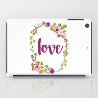 Floral Wreath Watercolor - Love - by Sarah Jane Design iPad Case
