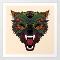 wolf fight flight ecru Art Print