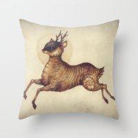 Deer in Leap Throw Pillow