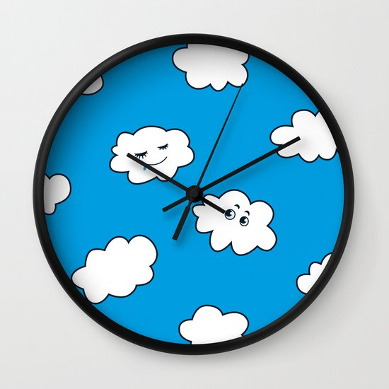 Blue Sky Happy Funny Clouds Wall Clock